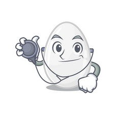 A mascot picture white egg cartoon as doctor vector