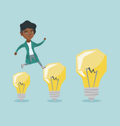 african business woman jumping on light bulbs vector image