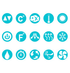 air conditioner round button icons set vector image