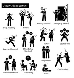Anger management stick figure pictogram icons vector