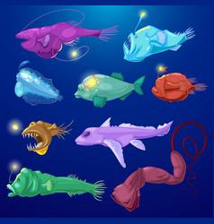 Angler fish seafish predator character with vector