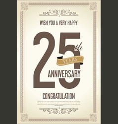 anniversary retro vintage background 25 years vector image