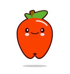 Apple fruit cartoon character icon kawaii flat vector
