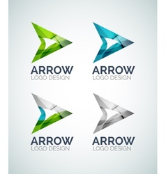 Arrow logo design made of color pieces vector image