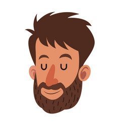 avatar face man beard close eyes vector image