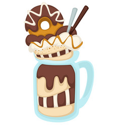 baked dessert with donut and chocolate sticks in vector image