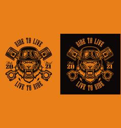 Black and white t-shirt design a tiger biker vector