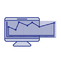 blue silhouette of screen monitor and financial vector image