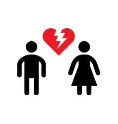 broken relationship icon or divorce concept vector image