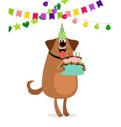 cartoon dog and cake birthday card vector image