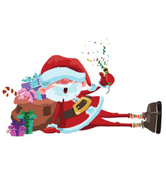 Cartoon santa claus is sitting with a bag of gifts vector