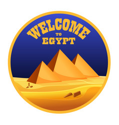 Cartoon welcome to egypt concept logo isolated vector