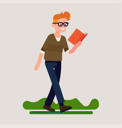 Cheerful man reading while walking flat design vector