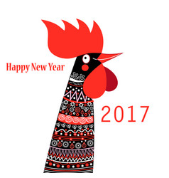 christmas card with a rooster vector image
