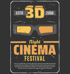 cinema 3d movie night festival retro poster vector image