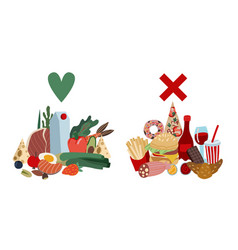 comparison healthy food and fast food vector image