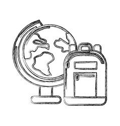 contour earth plenet desk with study bag vector image