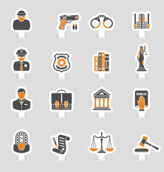 crime and punishment icons sticker set vector image
