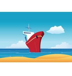 Cruise ship beach vector