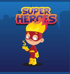 Cute funny boy character in colorful superhero vector
