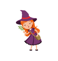 cute small red-haired girl witch in purple dress vector image