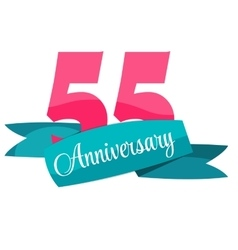 Cute Template 55 Years Anniversary Sign vector