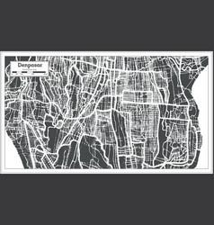 Denpasar indonesia city map in retro style vector