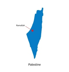 Detailed map of Palestine and capital city vector image