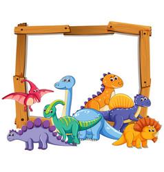 Different dinosaur on wooden frame vector
