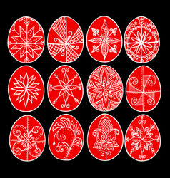Easter eggs red paschal eggs decorated with vector