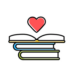 Educational books distribution color icon vector
