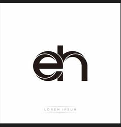 Eh initial letter split lowercase modern monogram vector
