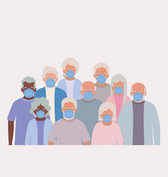 Elders men and women with masks design vector