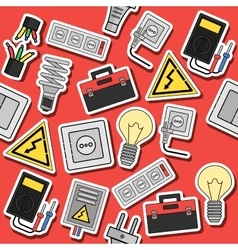Electricity flat icons collage vector