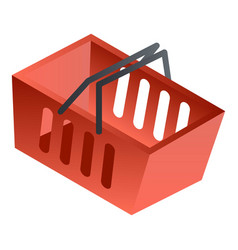 empty red shop basket icon isometric style vector image