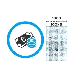 Euro and Dollar Cash Rounded Icon with 1000 Bonus vector image