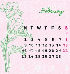 february 2015 flowers vector image