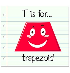 Flashcard letter T is for trapezoid vector
