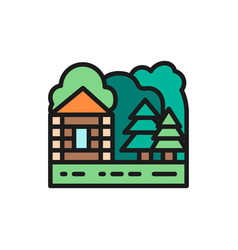 forest house and nature landscape flat color line vector image