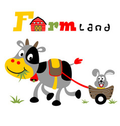 Fun in the farm field with cow and bunny cartoon vector