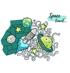 funny cosmos doodle vector image