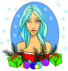 girl winter goddess beauty woman blue vector image