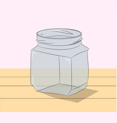 glass jar is on the table vector image