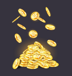 golden coins pile or stack with falling cash vector image