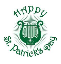 Green lyre icon happy st patricks day vector