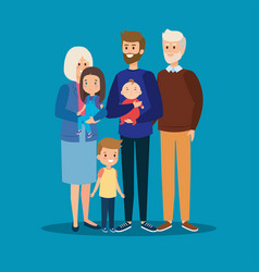Happy father together with his kids vector