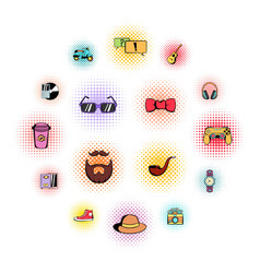 Hipster style comics icons set vector