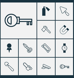 Instrument icons set with pilot hat destination vector