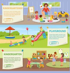 Kindergarten flat horizontal banners vector