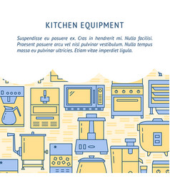 Kitchen equipment concept background in line style vector